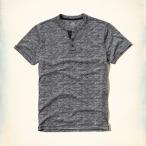 ショッピングホリスター ホリスター HOLLISTER Tシャツ ヘンリー メンズ ロゴ 半袖 Must-Have Textured Henley62407 グレー