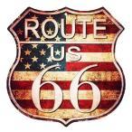 ルート66 アメリカンブリキ看板 まんま標識型 レトロ調 星条旗カラー アメリカン雑貨 アメリカ雑貨