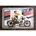 ピンナップガール Best GARAGE 002 オートバイの修理屋 ミニサイズ メタルプレート メタルサイン ブリキ看板 アメリカ 雑貨 アメリカン雑貨