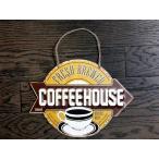 コーヒー COFFEE HOUSE エンボス加工 レトロ調 ダイカットタイプ 金属製壁飾り メタルプレート