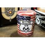 ルート66柄 オイル缶のスツール 星条旗カラー