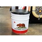 カリフォルニアのフラッグ柄 オイル缶のスツール