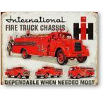 消防車いっぱい International Fire Truck Chassis インターナショナルハーベスタ社 レトロ調 アメリカンブリキ看板 アメリカ 雑貨 アメリカン雑貨