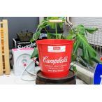 バケツ キャンベル レッド ブリキ製 Campbells ガーデニングにも アメリカン雑貨