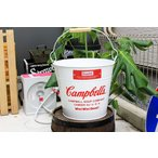 バケツ キャンベル ホワイト ブリキ製 Campbells ガーデニングにも アメリカン雑貨