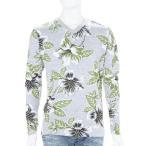 ハイドロゲン HYDROGEN ロングTシャツ ロンT 長袖 Vネック メンズ 160012 GREEN FLOWERS GREY アウトレット HYD大量入荷
