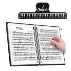 楽譜 ファイル 2ページ見開き 書込みOK クリップ付 60ページ A4 大容量 リング式 バンドファイル 180度 無地 黒 …  1冊
