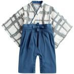 ベビーロンパース 袴 ベビーカバーオール 赤ちゃん用袴風和装 キッズ カバーオール ブルー 80cm