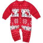 Mon Ange ベビー ロンパース カバーオール ニット 前開き 鹿 長袖 セーター クリスマス 可愛い 女の子 男の子 大人気 記念撮影用 サンタ
