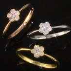 送料無料 天然ダイヤモンド0.1ctフラワー リング 指輪 5弁花 天然ダイヤモンド レディース