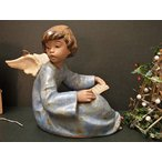 スペイン Lladro リヤドロ 読書中に蝶と話している天使像