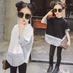 シャツ キッズ ジュニア 子供服 トップス 女の子 春新作 長袖 通園 通学 可愛い 韓国風 ストライプ ファッション