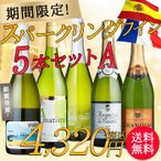 ワインセット スパークリングワイン バラエティ5本セットA 送料無料