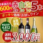 ショッピングワイン ワインセット お試しワイン バラエティ 赤白泡 5本セット 期間限定 送料無料