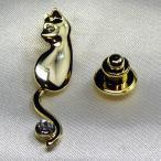 タックピンブローチ 動く猫の尻尾 ゴールド&ダイヤモンド