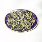 ブローチ  イタリア製 西洋七宝 古美 楕円 パープル