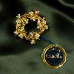 ブローチ イタリア製 アンティークゴールド 花 リース3重層