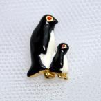 タックピンブローチ ペンギン親子 赤 カナダ製22金ゴールドメキース社
