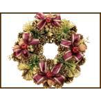 クリスマスに 幅35cm クリスマスリース キラキラゴールド ワインリボン