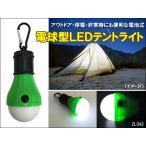 電球型 LED テントライト ランタン 電池付 カラビナフック付 あ