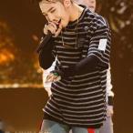 BIGBANG GドラゴンG-Dragon ボーダーtシャツ インス同型 応援グッズ 普段着用 出演服 韓国スター ビッグバン 韓流グッズ ユニセックス 男女兼用