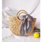 かごバッグ レディース 草編みバッグ サークルハンドル カゴバッグ ミディアムサイズ 巾着 リボン付 鞄