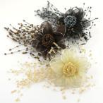 コサージュ 髪飾り 花 シフォン&ビーズ ダリア  ブローチ ヘアクリップ パーティー ドレス アクセサリー  着物 振袖 和服 和装 留袖