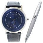 クロス 腕時計ボールペンセット メンズ Cross レザー ネイビー