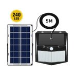 最新分離型 ソーラーライト 超明るい 240LED 4面発光  センサーライト 屋外 5m延長コード 人感センサー 3つ点灯モード IP65防水 防犯・防災  白光