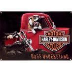 ハーレーダビッドソン ブリキ 看板 メタル プレート Harley Davidson Dogs Understand バイク ハーレー グッズ インテリア 看板 世田谷ベース