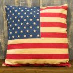 アメリカン フラッグ クッション 1.USA(星条旗) アメリカン雑貨 ビンテージ風プリント