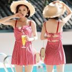 ワンピース 水着 体型カバー レディース 2点セット チェック オトナ女子 夏 海リゾート 盛れる 20代 30代 40代 50代の画像