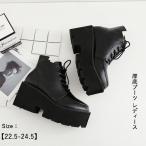 厚底ブーツ レディース 靴 ブーツ PU ショートブーツ 合成皮革 エンジニアブーツ カジュアル ブラック