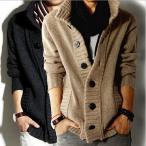 セーター メンズ ニット/カーディガン メンズ ニットセーター コート メンズ スタンドカラー 4色揃い