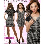 sale JEANMACLEAN ドレス jean maclean フォーマルドレス パーティードレス ワンピ−ス フリーダム ドレス レース切替モノトーンベルト付ミニドレス