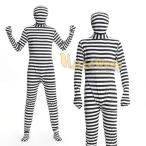 セール sale 全身タイツ SM コスプレ コスチューム キャラ 衣装 ハロウィン メンズ 男性 頭から足先までボーダー柄の男性用全身タイツ囚人コスチューム