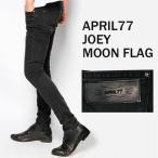 april77(エイプリル77)Joey Moon Flag(Hi Standard継続モデル)ブラックデニム ウォッシュ スキニーパンツ,黒,スキニージーンズ,ロックファッション