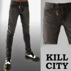 Kill City ウォシュグレースキニージーン April77のJhonnyを想わせる斜めZIPデザイン スキニーデニム ロック ファッション