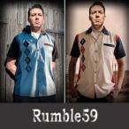 rumble59ユーロ・ロカビリー ダイヤ柄刺繍ボーリングシャツ 2カラー ロック ロカビリー ファッション オープンネック 開襟シャツ