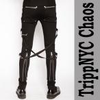 Tripp NY chaos-pants ブラック ジップ ボンテージ カーゴ  スキニー ボンテージパンツ パンク