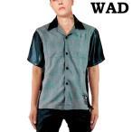 WADオリジナル ロックなオープンカラーシャツ ワークシャツ ボーリングシャツ メンズ 半袖 刺繍 ストリート ロック ロカビリー ファッション