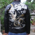 【SALE】【B315302】和柄刺繍PUレザー中綿入りジャケット鳳凰絡繰魂和柄 ダウンジャケットブルゾン