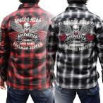 和柄Tシャツ メンズ ドクロ! 【ネコポス全国送料無料】【LT1833】ワークチェックシャツ和柄ロンT 和柄長袖Tシャツ
