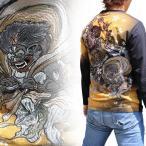 ショッピング和柄 【SALE】【B117302】【和柄Tシャツ】和柄刺繍長袖Tシャツ 和柄Tシャツ メンズ 風神雷神柄刺繍絡繰魂刺繍和柄長袖Tシャツ