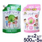 ハンドソープ  薬用ハンドソープ詰め替え用 大容量500mL 5個セット 選べる2タイプ 洗浄 殺菌 消毒 保湿 アロエエキス 日本製 送料無料
