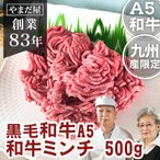 お取り寄せグルメ 肉 九州産 黒毛和牛 鹿児島 佐賀 長崎 A5  牛ミンチ 500g
