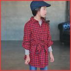 子供服 キッズ ジュニア 子供 長袖 シャツ 襟付き チェック ロング 上着 トップス シンプル kd1345
