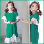 Yahoo!和一モール送料無料 春新商品 子供服 キッズ 子供 女の子 長袖 ワンピース シャツ ドレス シンプル kd2660