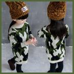 子供 子供服 キッズ コート セーター 上着 トレーナー ワンピース 迷彩 厚手 女の子 アウター kd309