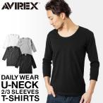 アビレックス アヴィレックス AVIREX デイリーウエア 8分袖 Uネック Tシャツ メンズ 6143509
